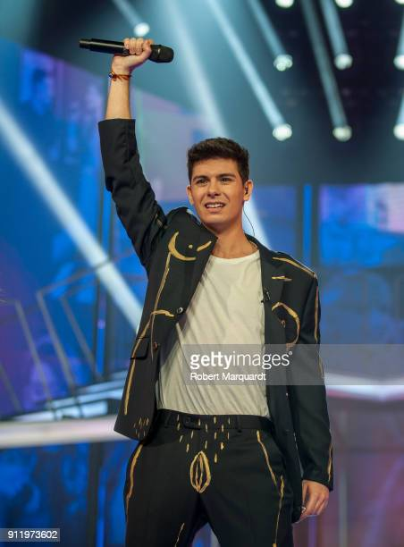 Alfred Garcia performs on stage for Operacion Triunfo Eurovision contest on January 29 2018 in Barcelona Spain