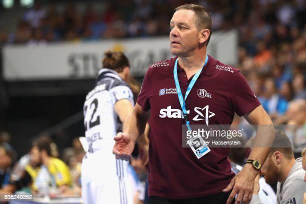 Alfred Gislason head coach of Kiel battles reacts during the Pixum DHB Handball Super Cup 2017 between RheinNeckar Loewen and THW Kiel at...