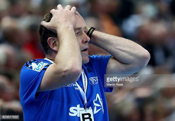 Alfred Gislason head coach of Kiel challenges reacts during the DKB HBL Bundesliga match between THW Kiel and SG FlensburgHandewitt at Sparkassen...