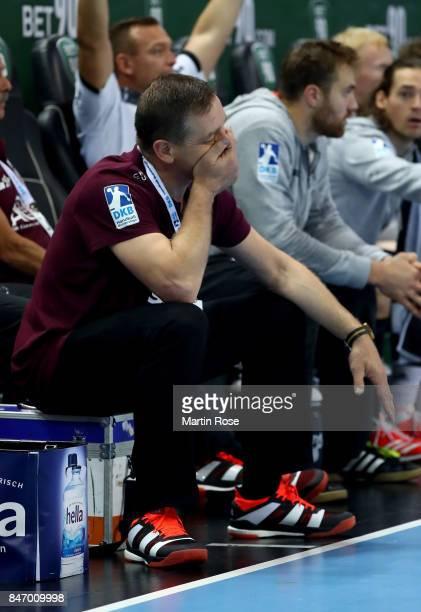 Alfred Gislason head coach of Kiel gestures during the DKB HBL Bundesliga match between THW Kiel and DHfK Leiipzig at Sparkassen Arena on September...