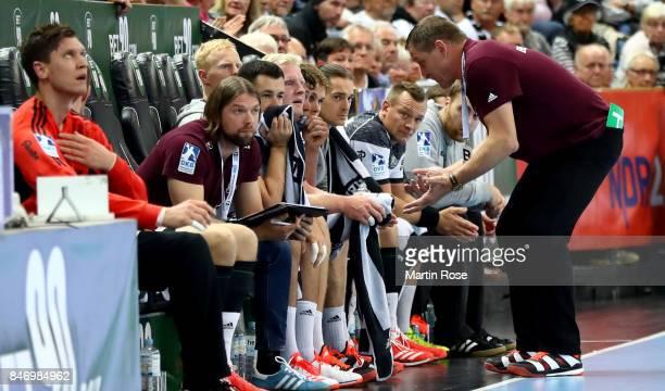 Alfred Gislason head coach of Kiel gives instructions during the DKB HBL Bundesliga match between THW Kiel and DHfK Leiipzig at Sparkassen Arena on...