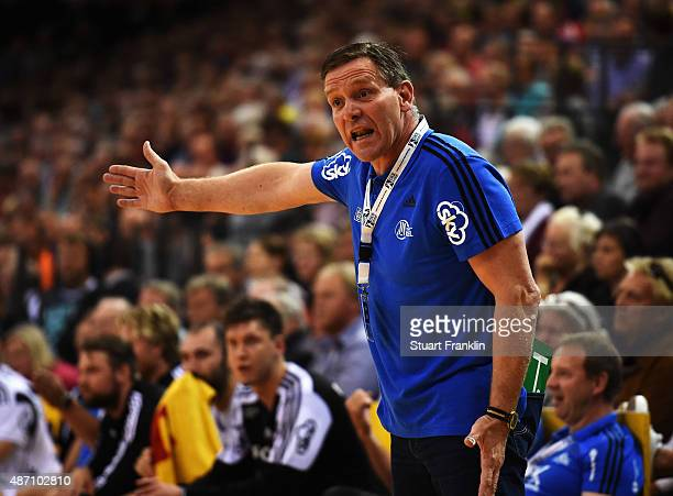 Alfred Gislason head coach of Kiel reacts during the DKB Handball Bundeslga match between SG FlensburgHandewitt and THW Kiel at FlensArena on...