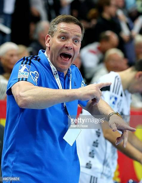 Alfred Gislason head coach of Kiel reacts during the DKB HBL Bundesliga match between THW Kiel and Bergischer HC at Sparkassen Arena on September 30...