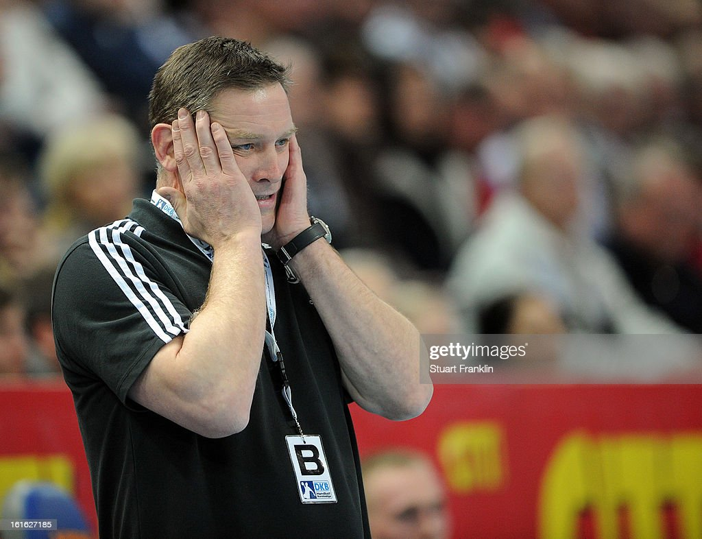 Alfred Gislason, head coach of Kiel reacts during the HBL Bundesliga game between THW Kiel and TSV Hannover-Burgdorf at the Sparkassen arena on February 13, 2013 in Kiel, Germany.