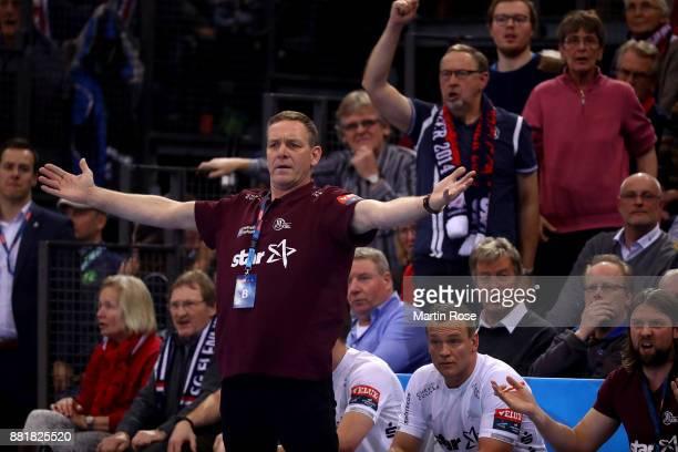 Alfred Gislason head coach of Kiel reacts during the Velux EHF Champions League match between SG Flensburg Handewitt and THW Kiel at FlensArena on...
