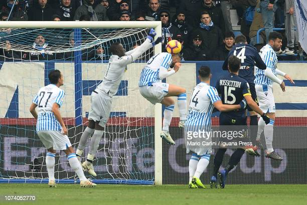Alfred Gomi sgoalkeeper of SPAL in action during the Serie A match between SPAL and Chievo Verona at Stadio Paolo Mazza on December 16 2018 in...
