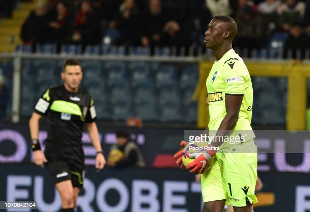 Alfred Gomis goalkeeper of Spal during the Serie A match between Genoa CFC and SPAL at Stadio Luigi Ferraris on December 9 2018 in Genoa Italy