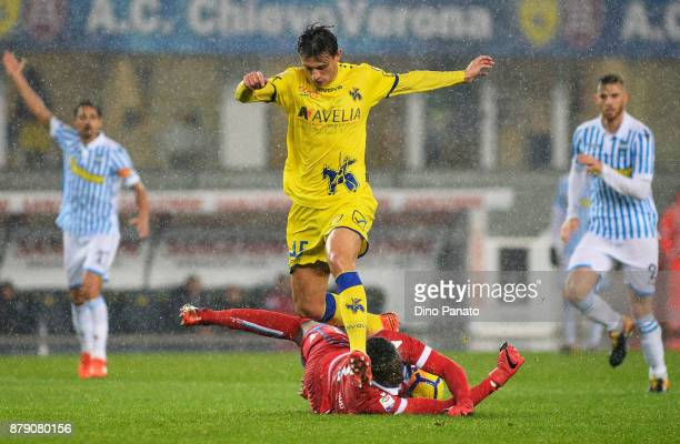 Alfred Gomis goalkeeper of Spal saves a shot from Roberto Inglese of Chievo Verona during the Serie A match between AC Chievo Verona and Spal at...