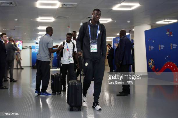 Alfred Gomis of Senegal arrives at the stadium prior to the 2018 FIFA World Cup Russia group H match between Poland and Senegal at Spartak Stadium on...
