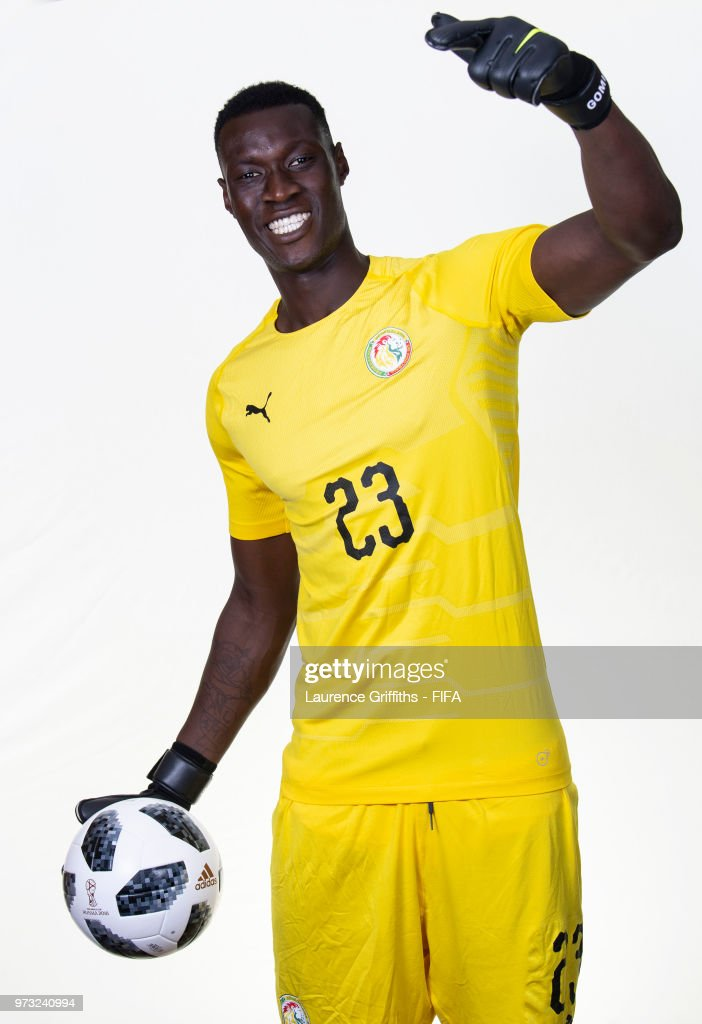 Alfred Gomis of Senegal poses for a portrait during the official FIFA World Cup 2018 portrait session at the Team Hotel on June 13, 2018 in Kaluga, Russia.
