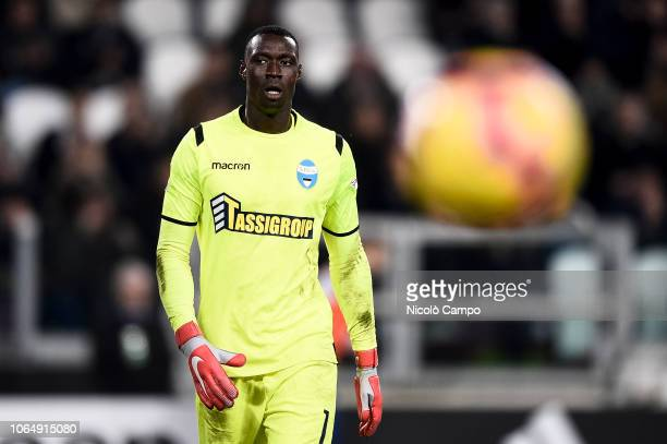 Alfred Gomis of SPAL eyes the ball during the Serie A football match between Juventus FC and SPAL Juventus FC won 20 over SPAL