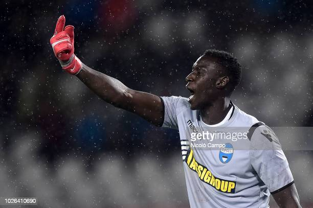 Alfred Gomis of SPAL gestures during the Serie A football match between Torino FC and SPAL Torino FC won 10 over SPAL