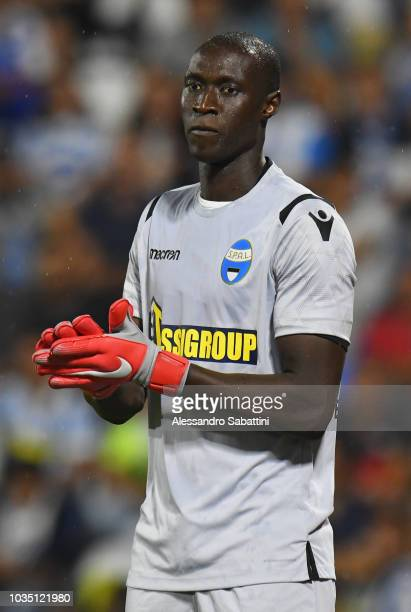 Alfred Gomis of Spal gestures during the serie A match between SPAL and Atalanta BC at Stadio Paolo Mazza on September 17 2018 in Ferrara Italy