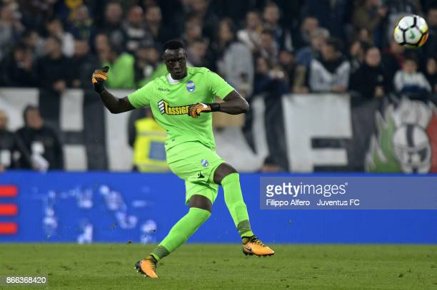 Alfred Gomis of Spal in action during the Serie A match between Juventus and Spal on October 25 2017 in Turin Italy
