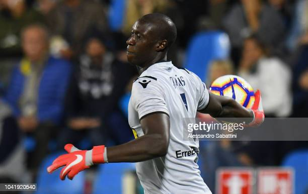 Alfred Gomis of Spal in action during the serie A match between SPAL and US Sassuolo at Stadio Paolo Mazza on September 27 2018 in Ferrara Italy