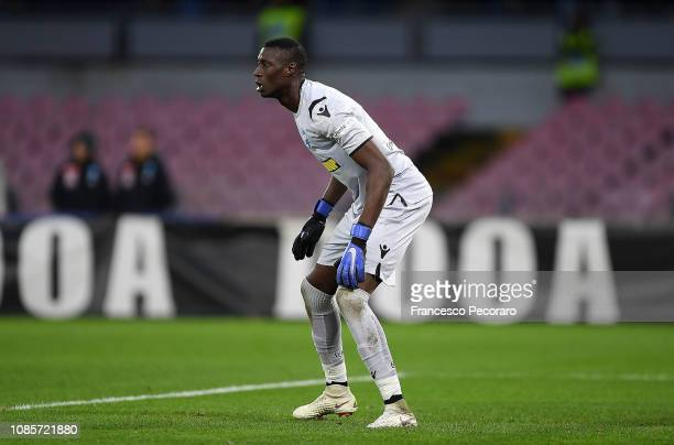 Alfred Gomis of Spal in action during the Serie A match between SSC Napoli and Spal at Stadio San Paolo on December 22 2018 in Naples Italy