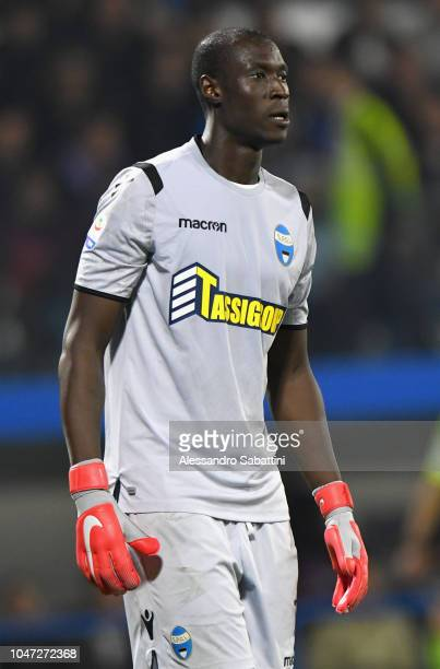 Alfred Gomis of Spal looks on during the Serie A match between SPAL and FC Internazionale at Stadio Paolo Mazza on October 7 2018 in Ferrara Italy
