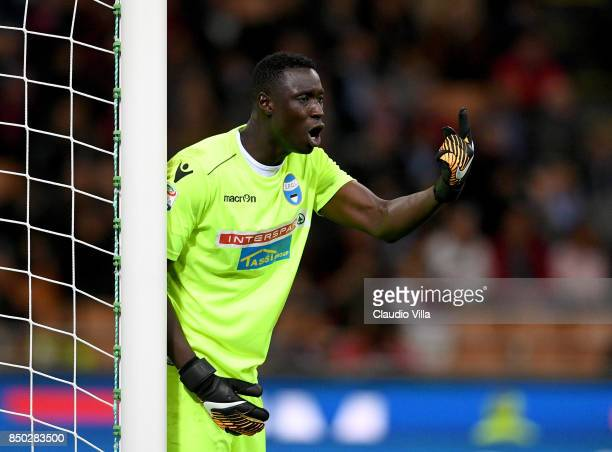 Alfred Gomis of Spal reacts during the Serie A match between AC Milan and Spal at Stadio Giuseppe Meazza on September 20 2017 in Milan Italy