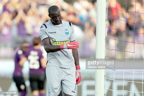 Alfred Gomis of Spal reacts during the Serie A match between ACF Fiorentina and SPAL at Stadio Artemio Franchi on September 22 2018 in Florence Italy