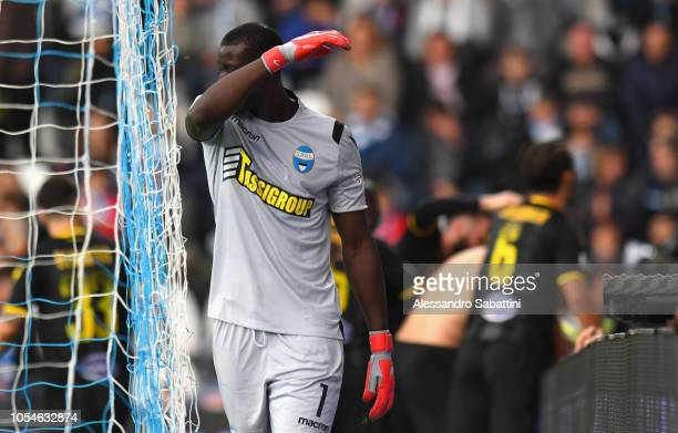Alfred Gomis of Spal reacts during the Serie A match between SPAL and Frosinone Calcio at Stadio Paolo Mazza on October 28 2018 in Ferrara Italy