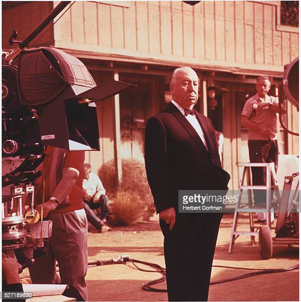 Alfred Hitchcock on a Movie Set