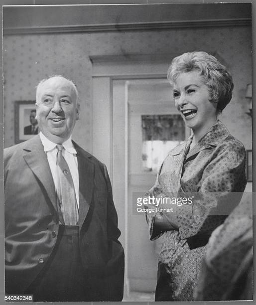 Alfred Hitchcock with Janet Leigh- candid shot taken during making of Hitchcock's Psycho for Paramount.