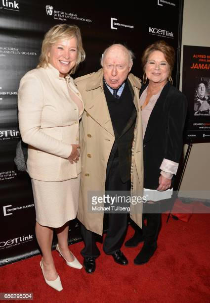 Alfred Hitchcock's granddaughter Katie Fiala actor Norman Lloyd and Alfred Hitchcock's granddaughter Tere Carrubba attend a screening event for...