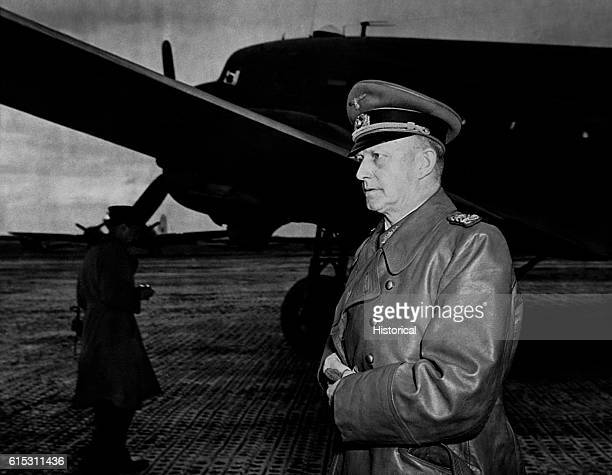 Alfred Jodl General German High Command on the tarmac next to a plane He is arriving to surrender to the British May 1945 | Location Luneburg Heath...