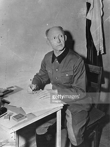 Alfred Jodl writes his notes for the Nuremberg Trials About 1945 Photograph