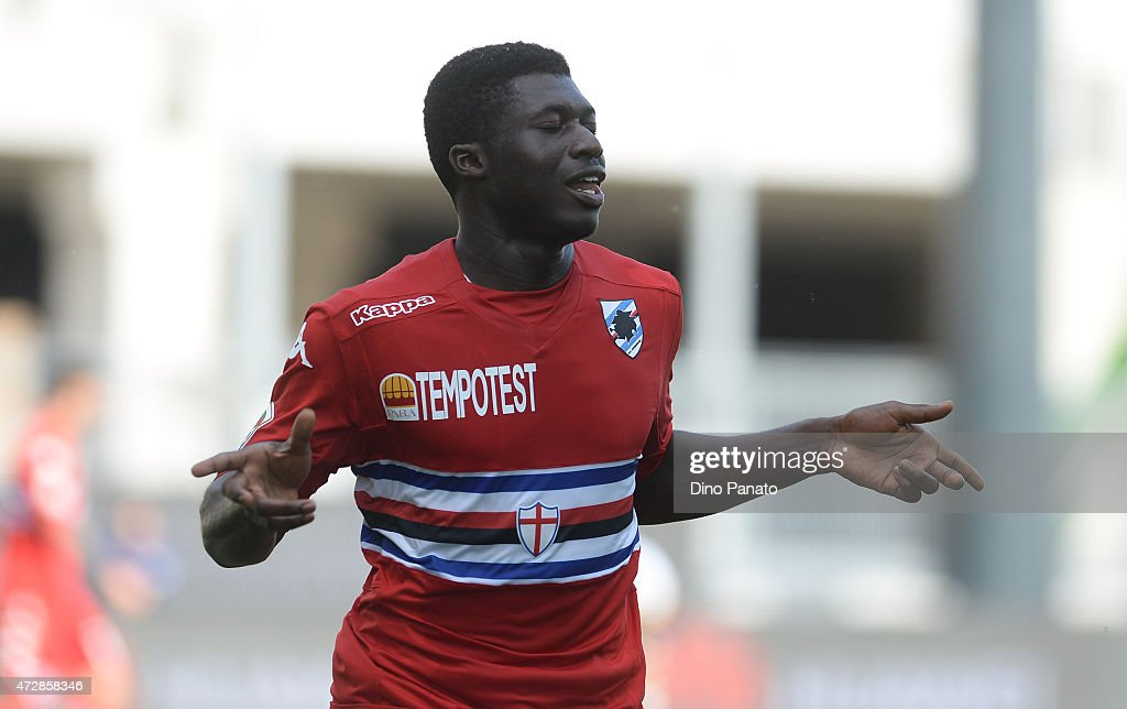 Alfred Joseph Duncan of UC Sampdoria celebrates after scoring his team's fourth goal during the Serie A match between Udinese Calcio and UC Sampdoria at Stadio Friuli on May 10, 2015 in Udine, Italy.
