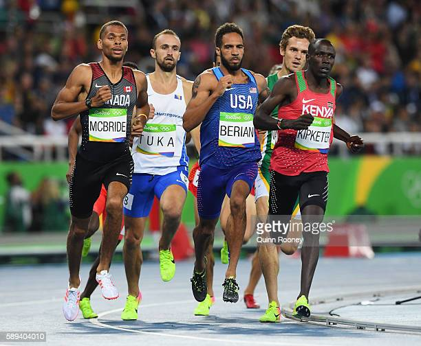 Alfred Kipketer of Kenya Boris Berian of the United States Amel Tuka of Bosnia and Herzegovina and Brandon McBride of Canada compete in the Men's...