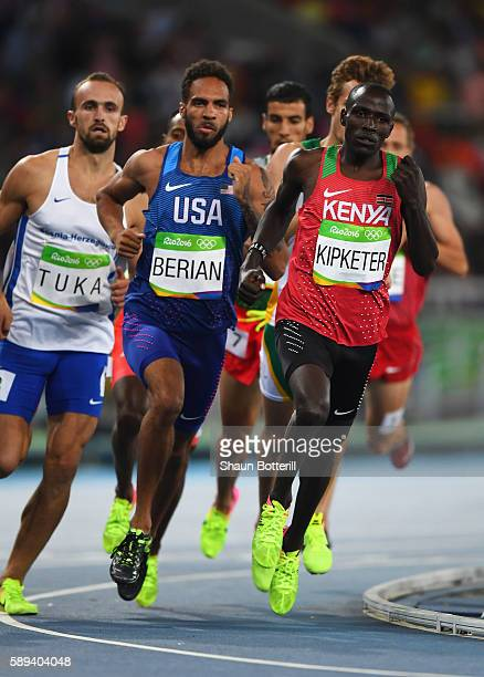 Alfred Kipketer of Kenya Boris Berian of the United States and Amel Tuka of Bosnia and Herzegovina compete in the Men's 800m Semi Final on Day 8 of...