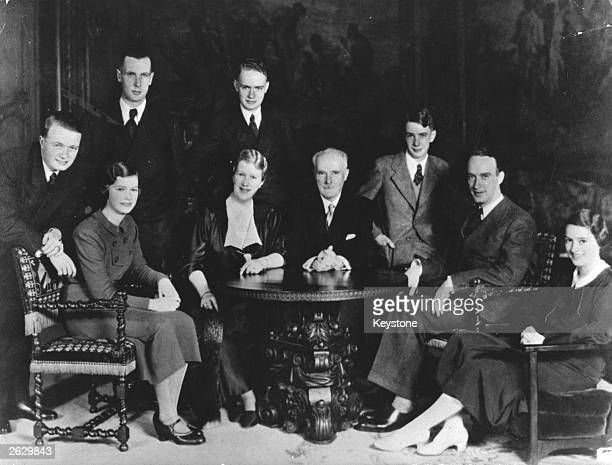 Alfred Krupp , German industrialist and arms manufacturer, second from right, with members of the Krupp von Bohlen und Halbach family. From left to...
