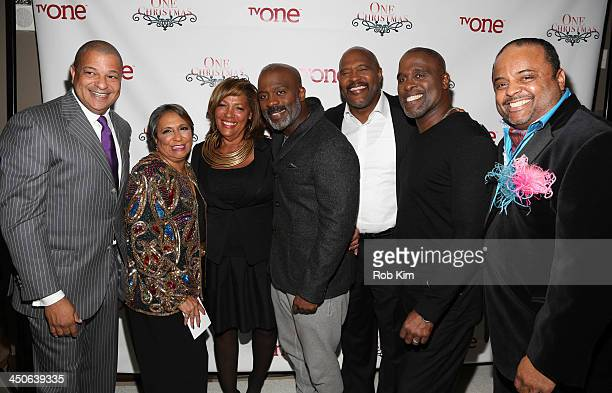Alfred Liggins Cathy Hughes guest BeBe Winans Marvin Winans Carvin Winans and Roland Martin attend TV One's One Christmas Holiday Variety Special on...