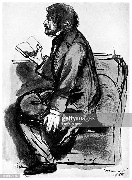 Alfred, Lord Tennyson, British poet, 1855 . Tennyson succeeded William Wordsworth as Poet Laureate in 1850. He is pictured here reading his poem...