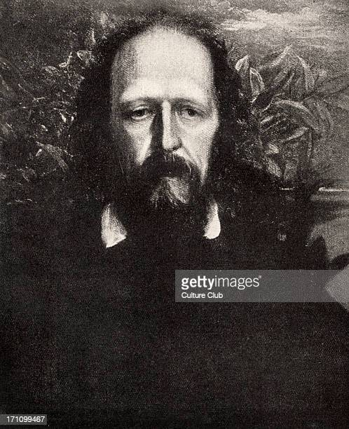 Alfred Lord Tennyson - portrait. English poet laureate. 1809-1892. Popular Victorian poet. Author of The Lady of Shallott. After the drawing by...