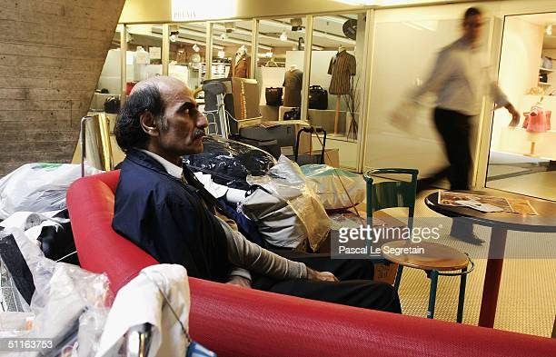 Alfred Merhan sits in his home of 16 years a corner of Terminal 1 at Paris' Charles de Gaulle airport on August 12 2004 in Paris France Merhan's...
