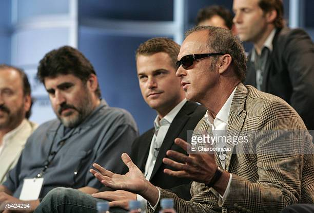 Alfred Molina Chris O'Donnell and Michael Keaton of 'The Company' during the Turner Summer 2007 TCA Press Tour at the Beverly Hilton Hotel on July 15...