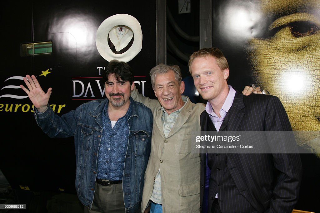 Alfred Molina, Ian Mc Kellen and Paul Bettany attend the photocall of 'The Da Vinci Code' at Cannes Railway Station.