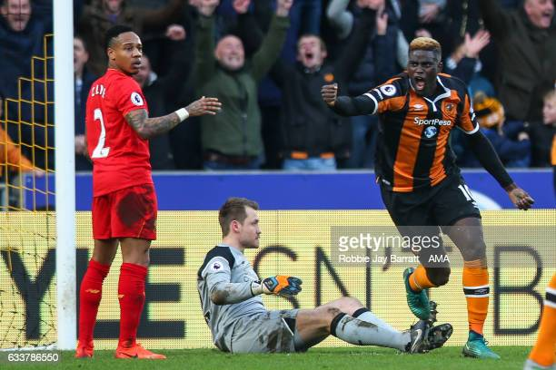 Alfred NDiaye of Hull City celebrates after scoring a goal to make it 10 during the Premier League match between Hull City and Liverpool at KCOM...