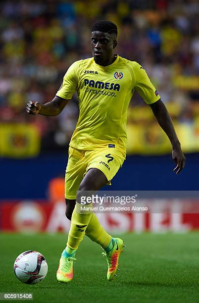 Alfred NDiaye of Villarreal in action during the UEFA Europa League Group L match between Villarreal and Zurich at El Madrigal Stadium on September...