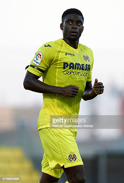 Alfred NDiaye of Villarreal looks on during the friendly match between Villarreal CF and CD Hospitalet at Ciudad Deportiva of Miralcamp on July 16...