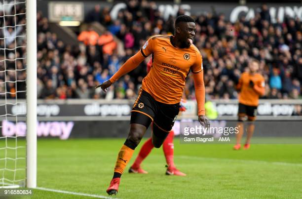 Alfred N'Diaye of Wolverhampton Wanderers celebrates after scoring a goal to make it 10 during the Sky Bet Championship match between Wolverhampton...