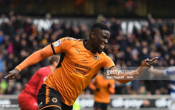 Alfred N'Diaye of Wolverhampton Wanderers celebrates after scoring a goal to make it 1-0 during the Sky Bet Championship match between Wolverhampton...