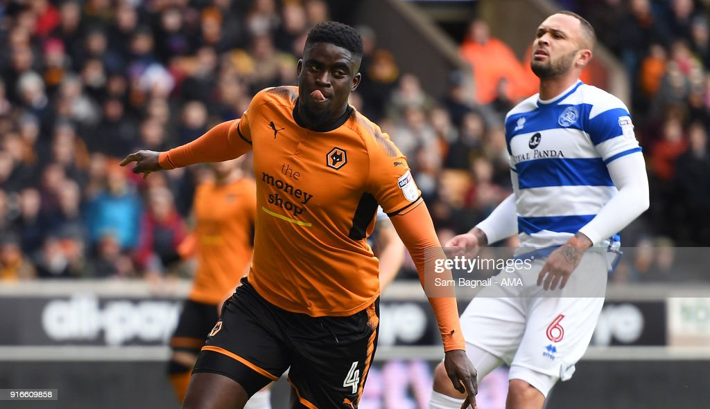 Alfred N'Diaye of Wolverhampton Wanderers celebrates after scoring a goal to make it 1-0 during the Sky Bet Championship match between Wolverhampton and Queens Park Rangers at Molineux on February 10, 2018 in Wolverhampton, England.