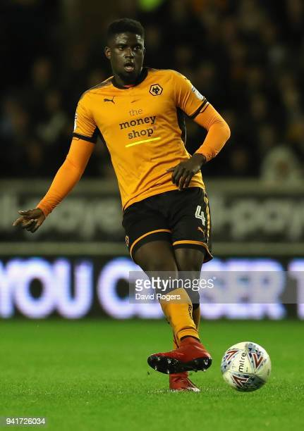 Alfred N'Diaye of Wolverhampton Wanderers passes the ball during the Sky Bet Championship match between Wolverhampton Wanderers and Hull City at...