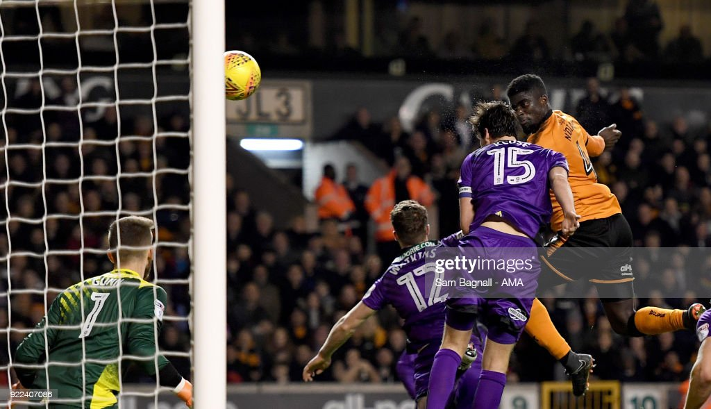 Alfred N'Diaye of Wolverhampton Wanderers scores a goal to make it 2-0 during the Sky Bet Championship match between Wolverhampton Wanderers and Norwich City at Molineux on February 20, 2018 in Wolverhampton, England.