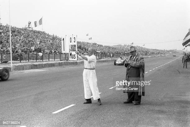 Alfred Neubauer, Grand Prix of the Netherlands, Circuit Park Zandvoort, 19 June 1955. Mercedes race director Alfred Neubauer with his stopwatch as...