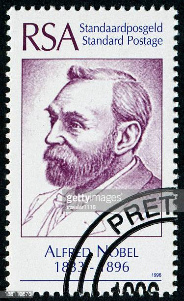 alfred nobel stamp - nobel prize stock pictures, royalty-free photos & images