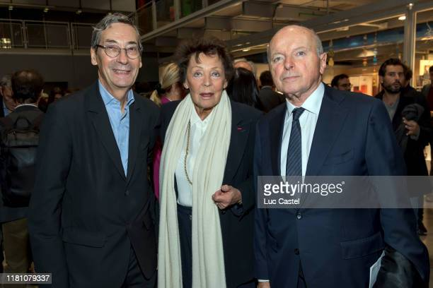Alfred Pacquement Lise Toubon Jacques Toubon attend the Prix Marcel Duchamp Award Ceremony At Centre Georges Pompidou on October 14 2019 in Paris...